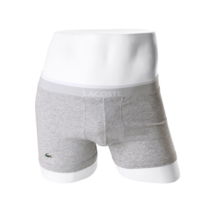 -LACOSTE- 93575 Stretch Cotton Boxer Trunk (Gray)