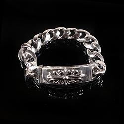 92742 CH 플로랄 크로스 자이언트 체인 팔찌 (Silver)