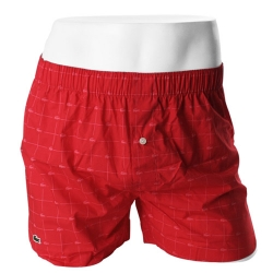 -LACOSTE- 93580 Pure Cotton Woven Boxer (LogoRed)