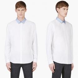 94620 배색카라 포인트 셔츠 (White)