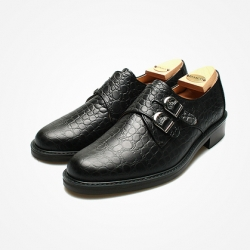 94789 Premium FA-199 Monk strap Shoes (Black)