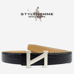 31720 STYLEHOMME 로고 크로코다일 벨트 (Black)