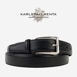 -K.S- 88779 italy real leather 크로커다일 리얼태닝 캐쥬얼 벨트 (Black)