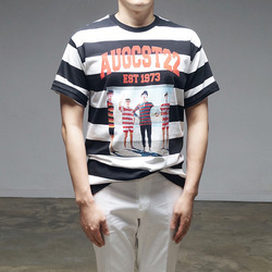 95086 레트로 나염 단가라 하프슬리브 티셔츠 (4Color)