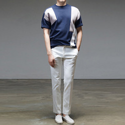 94984 TI 기하학 절개 배색 네오프렌 티셔츠 (3Color)