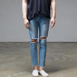 95310 무릎 하드 디스트로이드 크롭 데님 팬츠 (Blue)