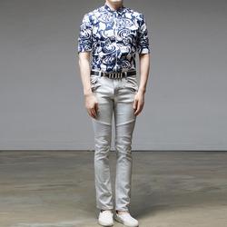 95420 밀란 기하학 패턴 7부 슬리브 셔츠 (2Color)