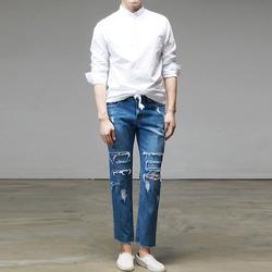95465 밴딩 헨리넥 셔츠 (White)