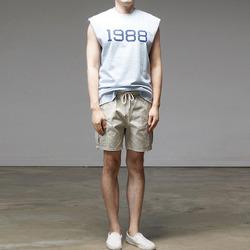 95631 넘버 타이포 나염 컷팅 슬리브리스 롱 티셔츠 (4Color)